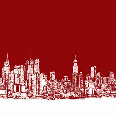 New York City Red Skyline  Art Print by Building  Art