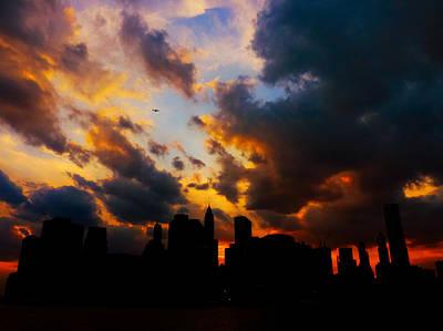 New York City Skyline At Sunset Under Clouds Art Print