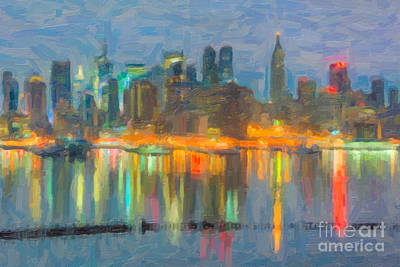 New York City Skyline Photograph - New York City Skyline In Oil by Clarence Holmes