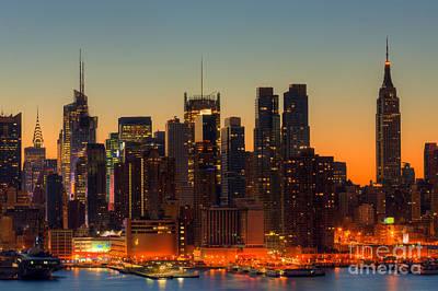New York City Skyline Photograph - New York City Skyline Morning Twilight Vi by Clarence Holmes