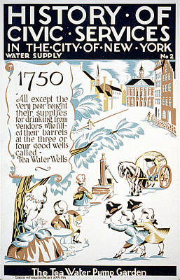 New York City. The Tea-water Pump Art Print by Everett