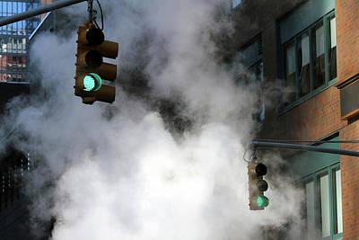 New York City Traffic Lights In Steam Art Print