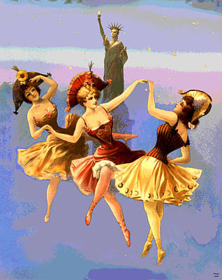 Statue Of Liberty Mixed Media - New York Dancing Girls by Charles  shoup