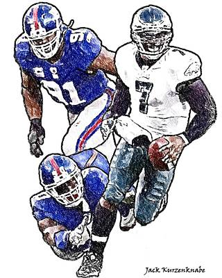 New York Giants Jason Piere-paul And Justin Tuck - Philadelphia Eagles Michael Vick Art Print by Jack K