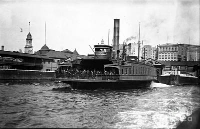 New York Harbour Steamship Whitehall Leaving Port A Summers Day In 1904 Art Print by Finn Trygvason Klingenberg