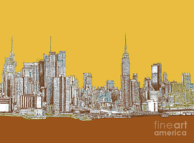 Times Square Drawing - New York Mustard Sepia by Building  Art