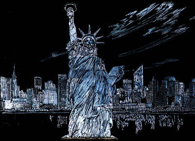 Drawing - New York New York by Saad Hasnain