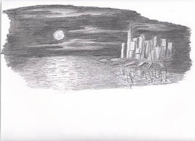 Moonlit Night Drawing - New York Night by Alex Wynn