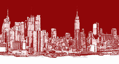 Turquoise Drawing - New York Rectangular Skyline Red by Building  Art