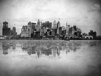 Battery Park Photograph - New York Skyline Reflected by Underwood Archives