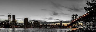 New Yorks Skyline At Night Colorkey Art Print by Hannes Cmarits