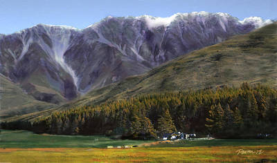 Digital Art - New Zealand Series - Mt. Cook Farmstead by Jim Pavelle