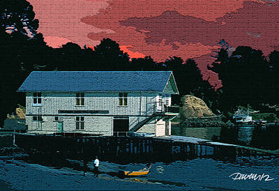 Digital Art - New Zealand Series - Akaroa Boathouse by Jim Pavelle