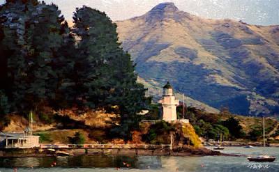 Digital Art - New Zealand Series - Akaroa Lighthouse by Jim Pavelle