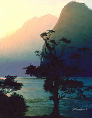 Digital Art - New Zealand Series - Milford Sound Sunset by Jim Pavelle