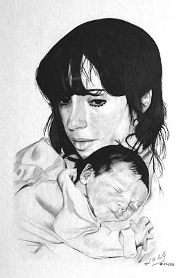 Miguel Rodriguez Drawing - Newborn by Miguel Rodriguez