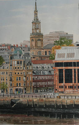 Law Courts Painting - Newcastle Law Courts And All Saints Church by George Levitt