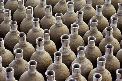 Africa Ceramics Photograph - Newly Made Clay Vases by George F. Mobley