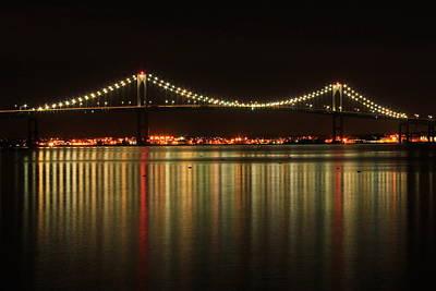 Photograph - Newport Pell Bridge At Night by John Burk