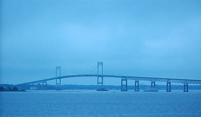 Photograph - Newport Ri Claiborne Pell Bridge At Dusk by Mary McAvoy