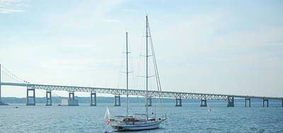 Photograph - Newport Ri Sailboat And Bridge by Mary McAvoy