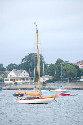 Photograph - Newport Ri Wooden Sailboat by Mary McAvoy
