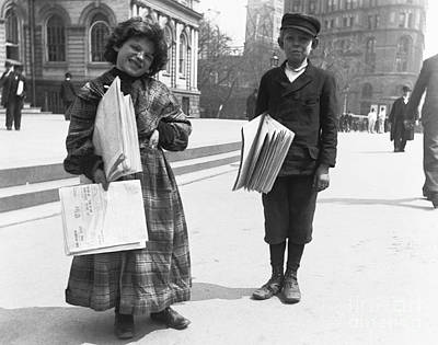 Newsgirl And Newsboy, 1893 Print by Photo Researchers