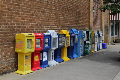 Newspaper Boxes Art Print