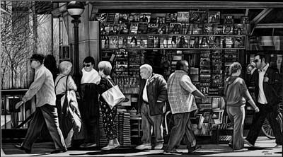 Cityscape.pencil Drawing - Newsstand by Jerry Winick