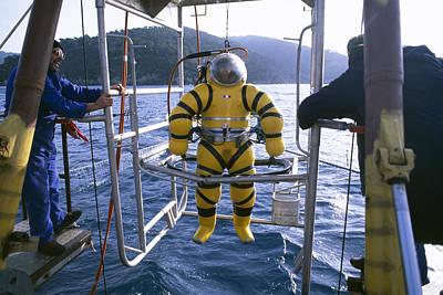 Surface Cage Diving Photograph - Newtsuit Rescue Diver by Alexis Rosenfeld