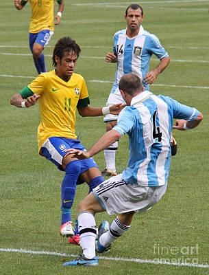 Neymar Breaking Ankles II Art Print by Lee Dos Santos