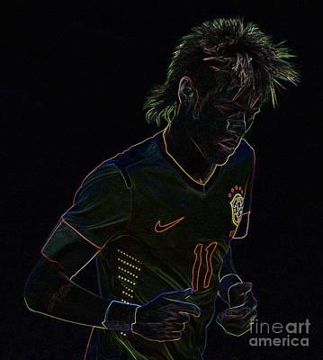 Neymar Neon Art Print by Lee Dos Santos