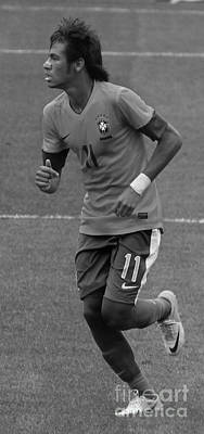 Neymar Running Black And White Print by Lee Dos Santos