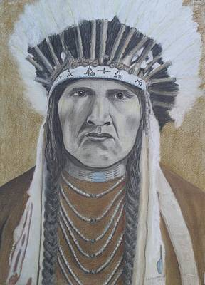 Painting - Nez Perce American Native Indian by David Hawkes