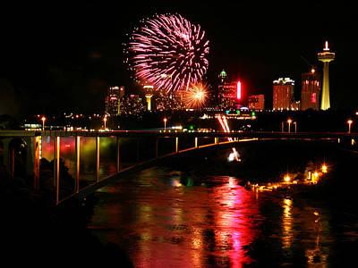 Photograph - Niagara Falls Fireworks by Mark J Seefeldt