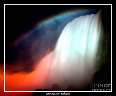 Photograph - Niagara Falls Nightly Illumination And Rainbow by Rose Santuci-Sofranko