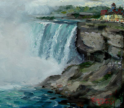 Lanscape Painting - Niagara Falls Rocks by Ylli Haruni