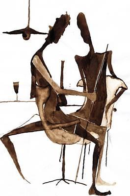 Wine-glass Drawing - Nice Evening by Maya Manolova