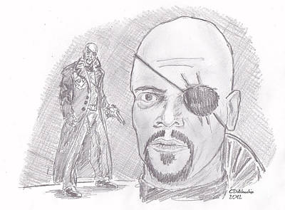 Drawing - Nick Fury- Director Of S.h.i.e.l.d. by Chris  DelVecchio
