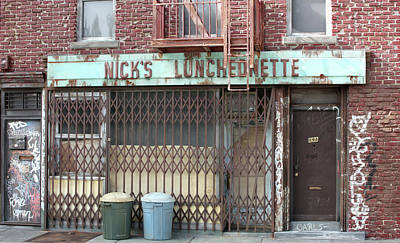 Commercial Archeology Sculpture - Nick's Luncheonette New York Store Front - Randy Hage by Randy Hage