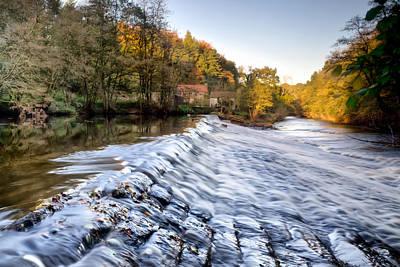 Nidd Gorge Autumn Weir Art Print