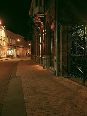 Photograph - Nieuwlandstraat Tilburg By Night by Nop Briex