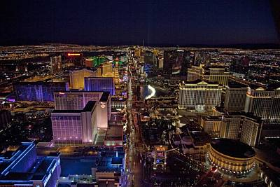 Night Aerial View Of The Las Vegas Print by Everett