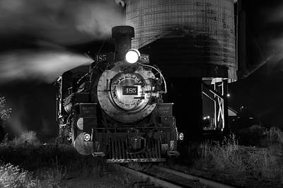 Photograph - Night At The Water Tower Black And White by Ken Smith