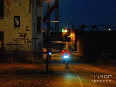 Montreal Mixed Media - Night Bike Montreal by Contemporary Luxury Fine Art