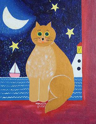 Lighthouse And Sailboat Painting - Night Cat by Monica Moser