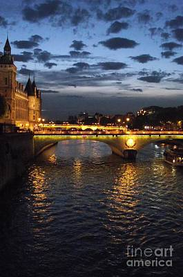 Night Fall Over The Seine Art Print by Shawna Gibson