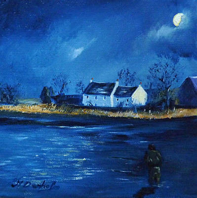 Night Fishing On The Forth Art Print by Margaret Denholm