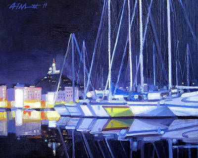 South Of France Painting - Night Harbor by Aaron Memmott