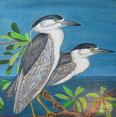 Tidal Creek Painting - Night Herons by Nancy Yarnall von Halle